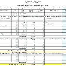 Project Estimate Template Excel Budget Estimate Template Excel