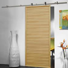 Contemporary Single Wood Sliding Barn Door Design With Stainless ...