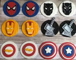 Edible Mixed Super Hero Avenger Villain Themed Fondant Birthday