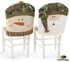 Mossy Oak Santa and Snowman Camouflage Christmas Chair Back Covers
