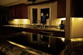 dark kitchen style with the luminous white lights on the brown molding cupboards gives an exotic cabinet under lighting