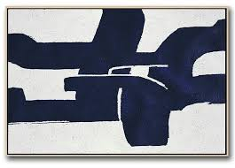 horizontal abstract painting navy blue