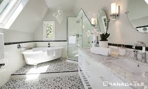 cluny cement tile in black and white bathroom