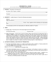 Lease Contract Sample Sample Lease Contract 10 Examples In Word Pdf