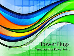 Blue And Orange Powerpoint Template Powerpoint Template Abstract Wave And Grid Background In