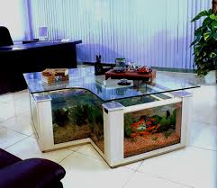 ... Attractive White Rectangle Unusual Laminated Wood Fish Tank Coffee  Table With Glass Top ...