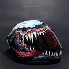 venom custom helmet airbrush painted motorcycle with kyt helmet