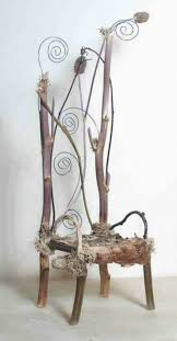 elf furniture. the swirling winds of winter 2004 debbie schramer rustic furniture miniature nature branches chair fairytale fairies gnomes elves mixed media online elf
