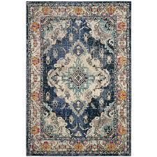 safavieh monaco mahal navy light blue indoor distressed area rug common 5 x