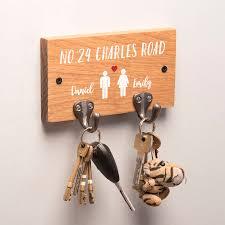 Personalised Couples Oak Key Holder