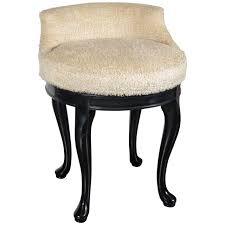 1940s hollywood swivel vanity stool in faux lambs wool and ebonized walnut for