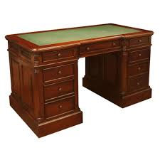 colonial pedestal desk mahogany with green leather top
