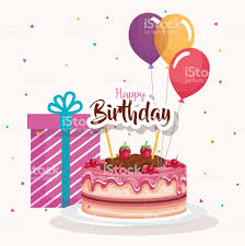 Happy Birthday Cake With Balloons Air Celebration Card Stock Vector
