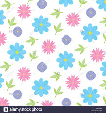 Cute Background Flowers Leaves Decoration Stock Vector Art
