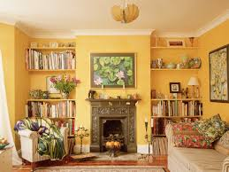 Yellow Living Room Decor Spectacular Built In Shelves Fireplace Decors With Grey Midcentury