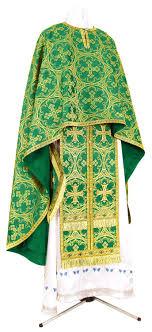 Greek Priest vestment - metallic brocade B (green-gold) - Istok Church  Supplies Corp.
