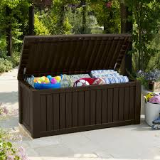 outdoor weather resistance keter rockwood deck box 150 gallon with