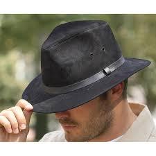 henschel leather crusher hat black