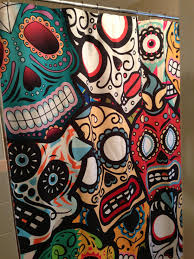 Sugar Skull Bathroom Decor Day Of The Dead Shower Curtain I Love The Dead And Showers