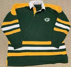 details about vintage green bay packers nfl logo 7 long sleeve polo rugby shirt sz xl