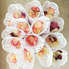 Paper Cones For Flower Petals Lace Paper Petal Cones Wedding Candy Boxes Confetti Cones Flower