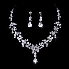 Bridal Wedding Jewelry Set Rhinestone Tiara Crown Necklace Wedding Jewelry Sets