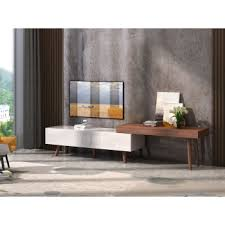 Contemporary tv furniture units Vanity Modrest Noelle Modern White Walnut Tv Stand La Furniture Store Modern Entertainment Centers Durable Tv Stands And Tv Consoles