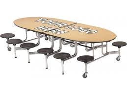 amtab mobile oval cafeteria table dynarock edge 12 stools