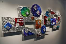 colorful large abstract metal wall art