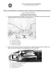 Ferrara Design Industriale Prova Di Ammissione In Design Del Prodotto Industriale 2016