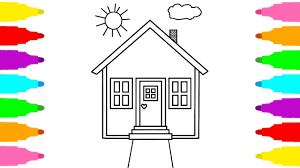 how to draw house for kids coloring pages for children learn colors with coloring book