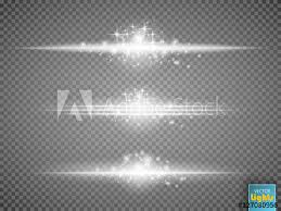 Glowing white light effects collection isolated on transparent