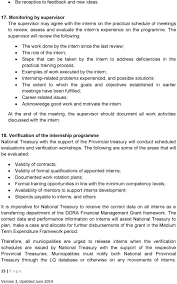 guidelines for implementation of municipal finance management the supervisor will review the following the work done by the intern since the last