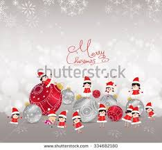 Christmas Background With Bauble Kids Snow And Snowflakes Merry