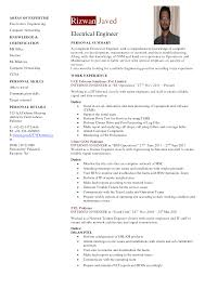 Electrical Engineering Resume Template Cv Format For Electrical