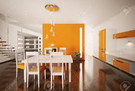 Orange And White Kitchen Interior Of Modern Orange White Kitchen 3d Render Stock Photo