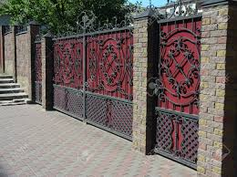 Modern Iron Fence Designs Brick And Metal Fence With Door And Gate Of Modern Style Design