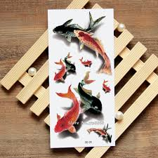 Us 099 3d Goldfish Fake Tattoo Decals Temporary Tattoo Body Art Flash Tattoo Stickers Waterproof For Women Men 029 In Temporary Tattoos From