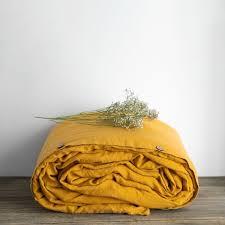 linen duvet cover in mustard