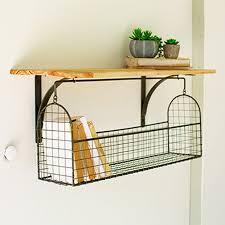 wall shelf with basket organizer