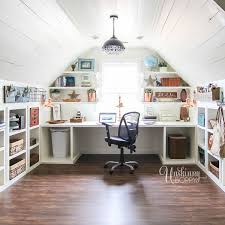 office craft room. Amazing Office/Craft Room Organization In The Attic - Look At All Those Cubbies Under Kneewall! #hobbylobbystyle #ad Office Craft