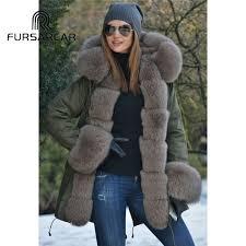 <b>Fursarcar</b> 75 Cm Long <b>Real</b> Fur Coat Women's <b>Winter New</b> Style ...