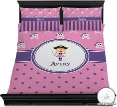 pink pirate duvet cover set personalized