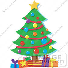 ... Gifts Underneath It #33506. #33506 Christmas Clipart Of A Star On Top  Of A Christmas Tree Decorated In Baubles