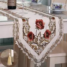 Elegant Polyester Embroidery Table Runner Handmade Embroidered Flower  Floral Cutwork Simple Home Table Cloth Covers Runners-in Table Runners from  Home ...