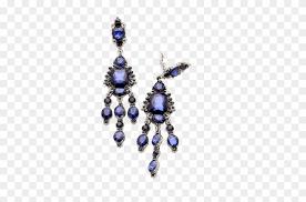 deep blue crystal long chandelier clip earrings earrings 1117588