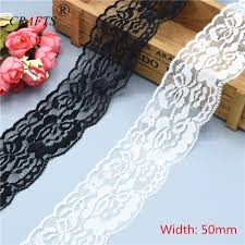 <b>5cm wide</b> beautiful white and black stretch lace ribbon <b>2</b> 10 <b>yards</b> ...