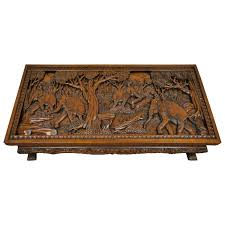 20th century vietnamese hand carved asian coffee low table with elephant scene for at 1stdibs