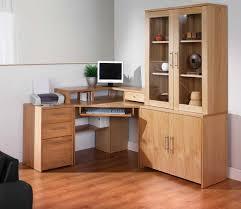 corner office shelf. Corner Office Desk Ideas Using Light Oak Wood Computer With Keyboard Drawer And Cabinet Also Storage Shelf