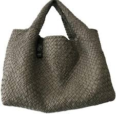 falor woven made italy dark gray leather tote bag purse new nwt